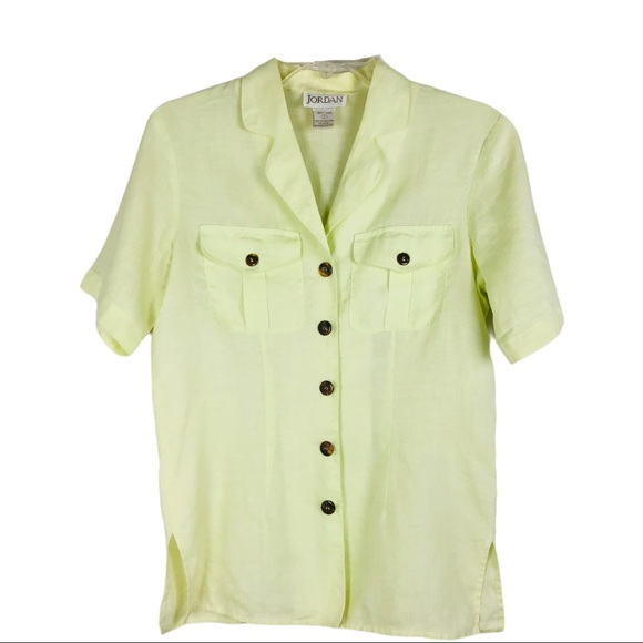 Vintage green linen button front collar pocket top
